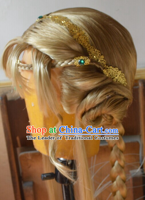 Ancient Chinese Japanese Korean Asian Queen Princess Long Wigs Cosplay Wig Hair Extensions Toupee Full Lace Front Weave Pieces for Women