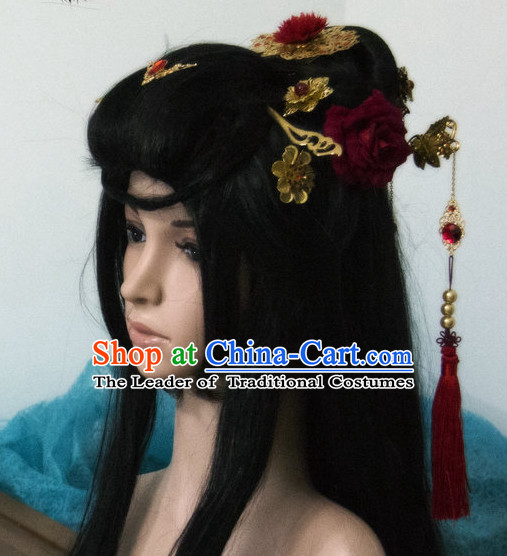 Ancient Chinese Japanese Korean Asian Princess Long Wigs Cosplay Wig Hair Extensions Toupee Full Lace Front Weave Pieces for Women