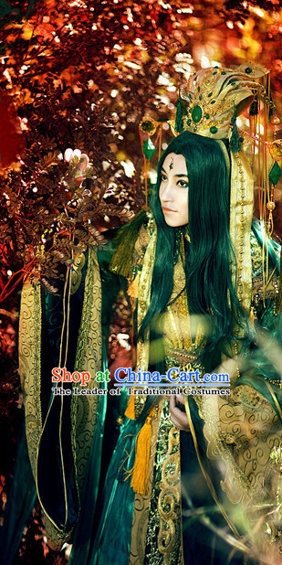 Ancient Chinese Emperor Costumes Cosplay and Hair Accessories Complete Set
