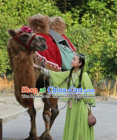 Ancient Chinese Hanfu Dress and Headwear Complete Set for Girls