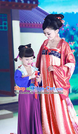 Ancient Chinese Tang Dynasty Dress and Headwear for Women and Kids
