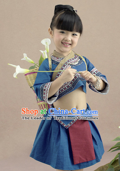 Traditional Chinese Miao Dress and Headwear Complete Set for Kids