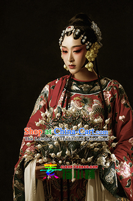 Traditional Chinese Opera Dress and Headwear Complete Set for Women
