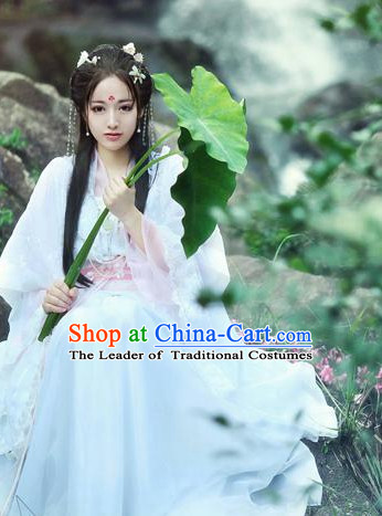 Traditional Chinese Fairy Dress Costume and Headwear Complete Set for Women