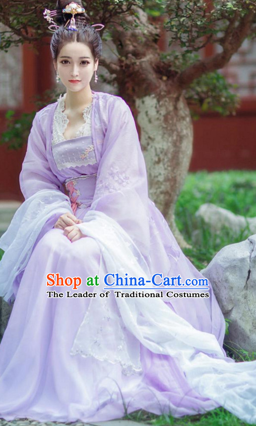 Traditional Chinese Princess Dress Costume and Headwear Complete Set for Women