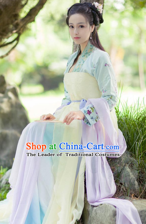 Traditional Chinese Female Poet Dress Costume Complete Set for Women