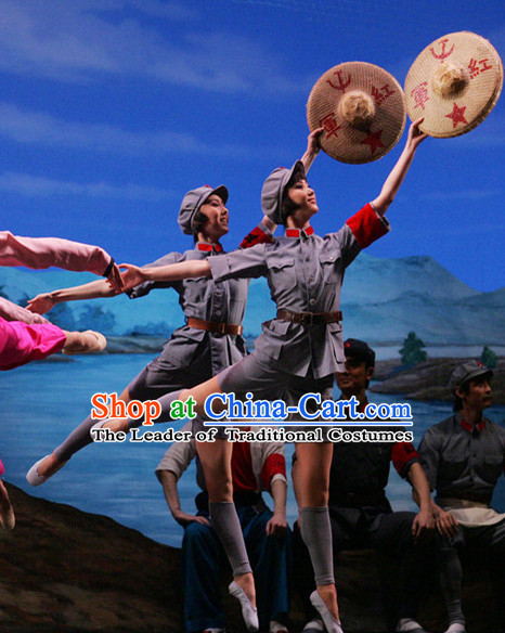 China Red Army Dance Costumes for Women