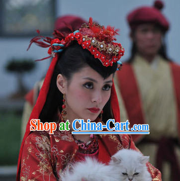 Ancient Chinese Red Wedding Headwear