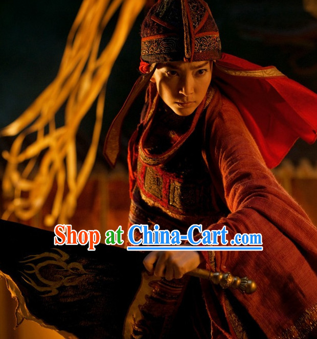 Chinese Red Swordwoman Outfit Complete Set