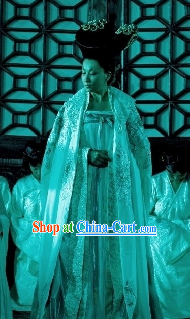 Chinese Tang Female Emperor Outfit and Hair Jewelry Complete Set for Women