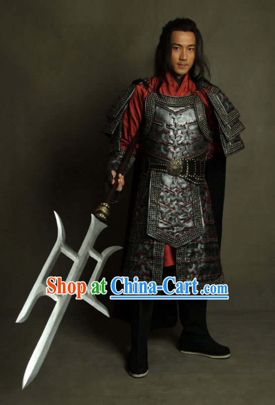 Ancient Chinese General Armor Helmet Costume Complete Set