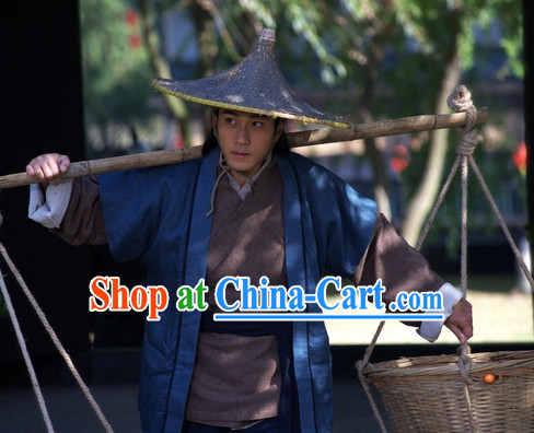Ancient Chinese Servant Costume and Hat Complete Set