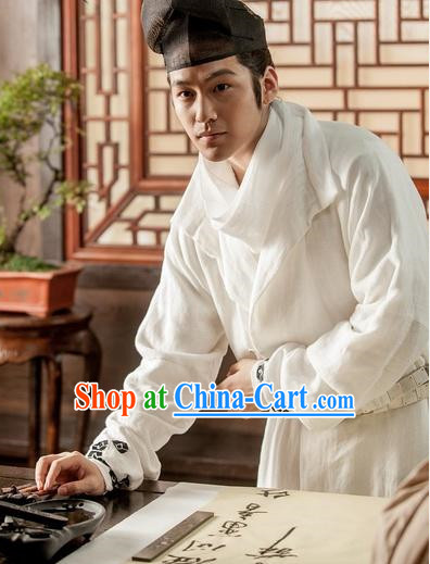 White Ancient Chinese Scholar Uniform Complete Set