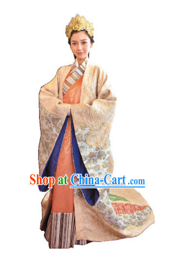 Ancient Chinese Imperial Princess Dresses and Headwear Complete Set
