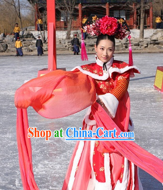 Classic Chinese Empress Dance Costumes Movies Costume and Hair Accessories