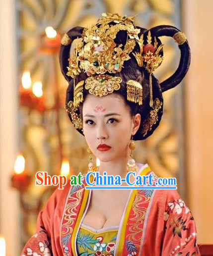 Chinese Classic Empress  Black Wig and Headwear