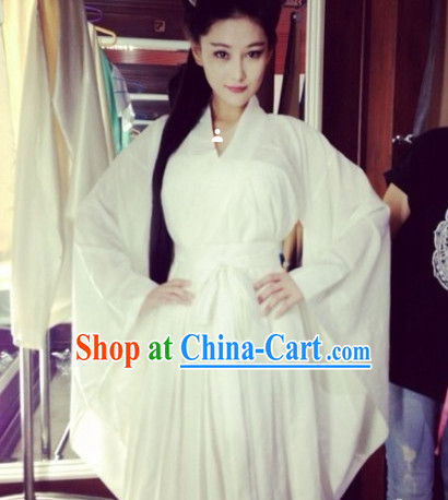 Chinese Classic Female White Fairy Clothes
