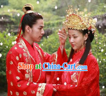 Chinese Classic Red Wedding Suits Men and Women 2 Complete Sets