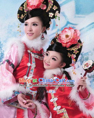 Ancient Chinese Manchu Costume for Little Girls