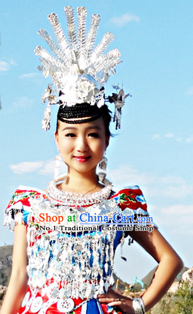 Traditional Silver Miao Hat and Necklace for Women