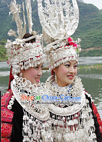 Traditional Silver Miao Headgear and Necklace