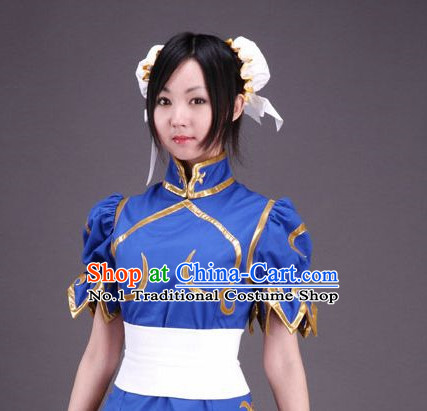 Blue China Girl Cosplay Outfit and Headwear Complete Set for Women