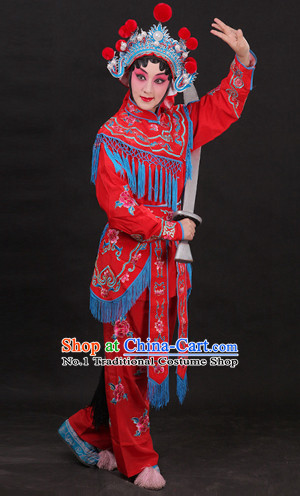 China Peking Opera Superheroine Red Costumes