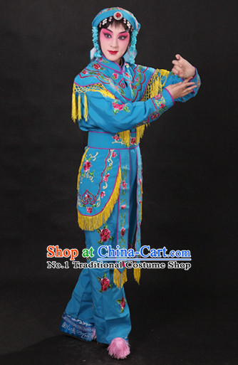 China Peking Opera Blue Superheroine Costumes