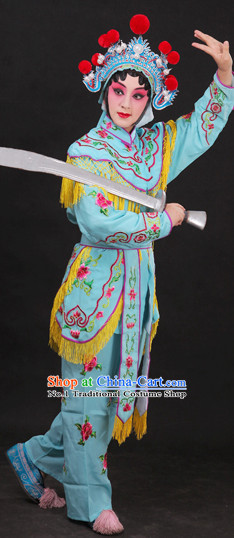 Light Blue China Peking Opera Superheroine Costumes