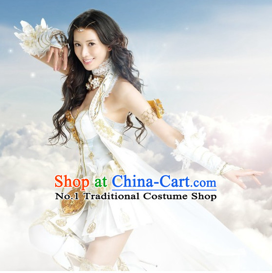 Asian Queen White Sexy Costumes and Hair Accessories