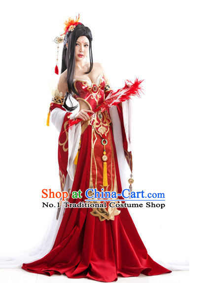 Asian Beauty Sexy Bride Queen Costumes and Hair Accessories Full Set for Women