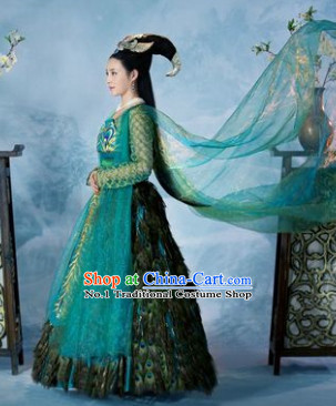 Asian Traditional Carnival Peacock Queen Costumes for Women