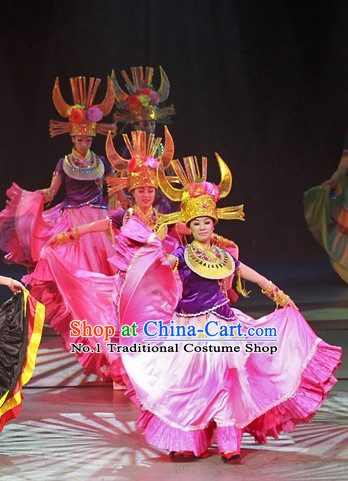 Chinese Lijiang Stage Performance Dance Costumes and Big Hat