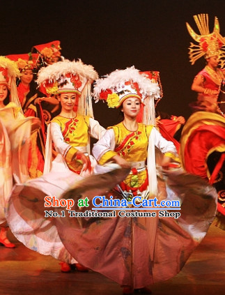 China Yunnan Province Lijiang Ethnic Minority Dance Costumes and Hat for Women