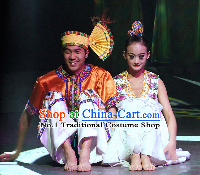 Chinese Yunan Xishuang Banna Dai Ethnic Men and Women's Dance Costumes