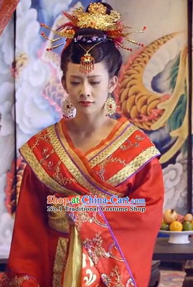 Asian China Princess Red Wedding Outfit and Phoenix Hair Jewelry for Women