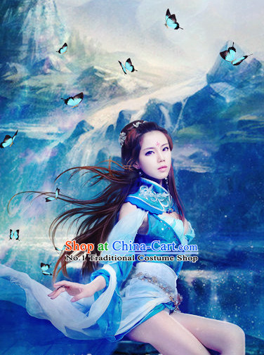 China Blue Sexy Halloween Carnival Costumes for Girls