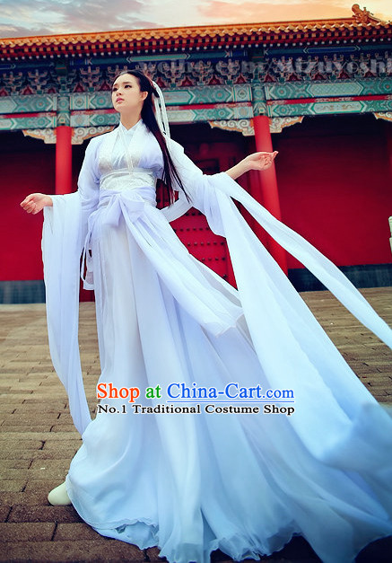 Pure White Mandarin Hanfu Clothes Complete Set For Women