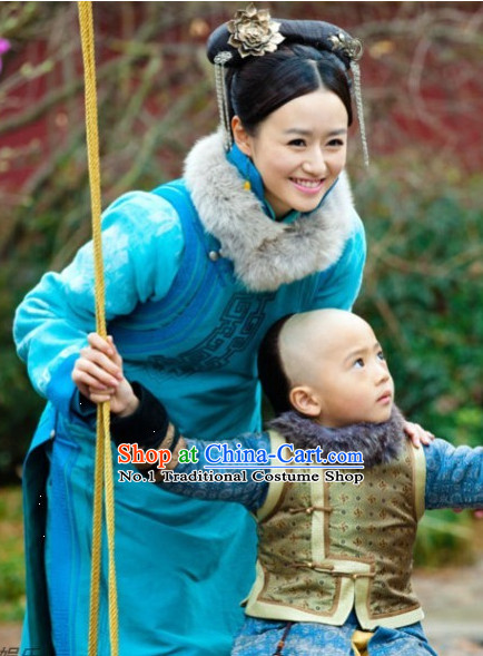 Traditional Manchu Princess Robe Costumes and Headwear