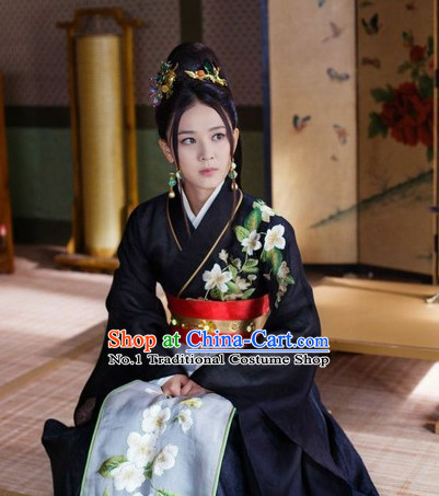 Black Embroidered Hanfu Suit for Women