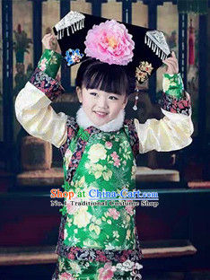 Qing Princess Robe and Hat for Kids