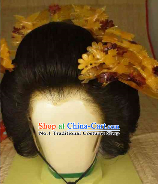 Traditional Japanese Geisha Black Long Wig and Hair Accessories
