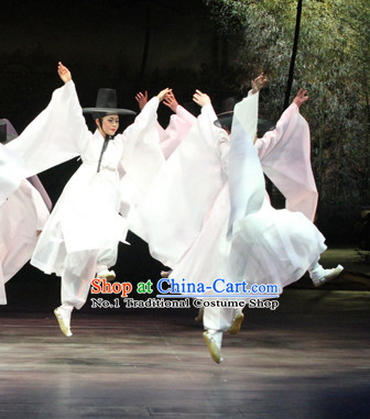 Pure White Korean Classical Dance Costumes for Men