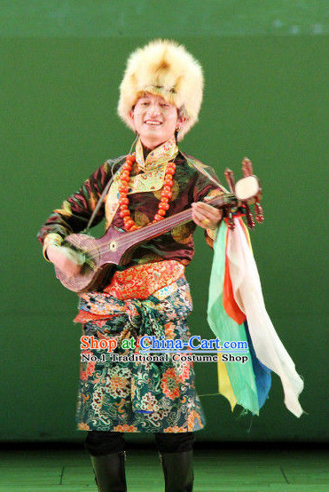 Mongolian Musician Traditional Dress and Hat for Men