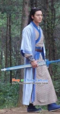 Chinese Swordman Stage Costumes and Headwear