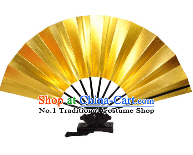 Professional Competition Gold Handmade Chinese Dancing Fan