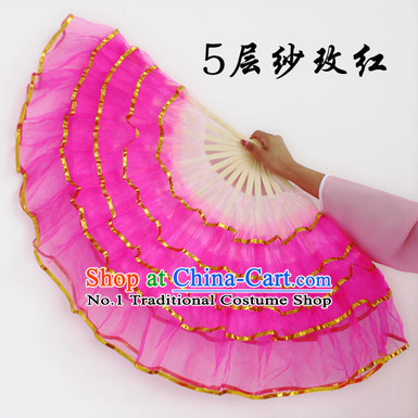 Five Layers Gauze Hand Fans for Sale