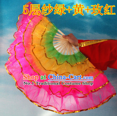 Five Layers Chinese Hand Fan for Sale