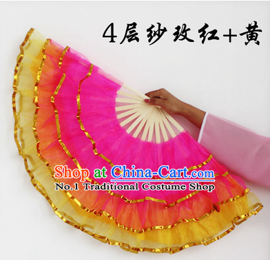 Four Layers Chinese Gauze Dance Fan