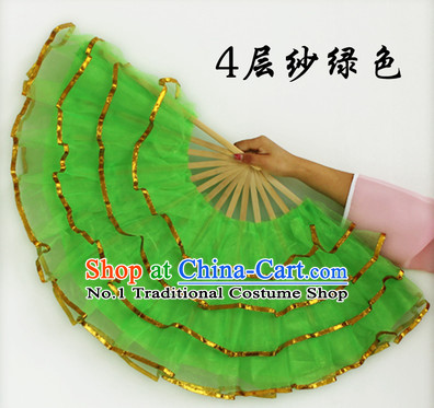 Four Layers Green Hands Dance Fans